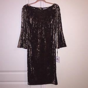 Calvin Klein Velvet Bell Sleeved Dress